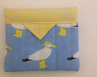"Sea Gulls Quilted Fabric Mini Snap Bag 5"" x 4-1/4"""