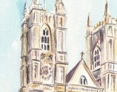 Westminster Abbey, London.  Print from an original watercolour.