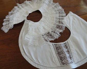 Two Vintage Ladies Collars, Rows of Lace and Lace Inserts