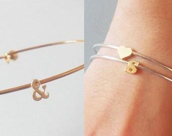Initial Bangle Tiny Gold Letter  Bangle Bracelet Lowercase - gold plated Initial charm Bangle Bracelet - Bridesmaid Gifts