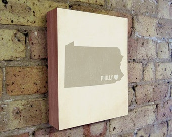 Philadelphia Art Print - Philly Art - Philadelphia Art - Philadelphia Pennsylvania - I Love Philly - Wood Block Art Print