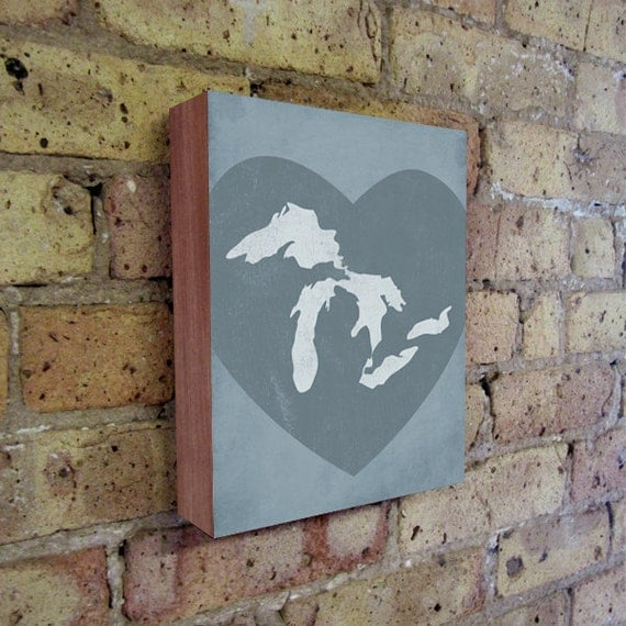 Great Lakes Art - Lake Michigan - Lake Erie - Lake Superior - Wood Block Wall Art Print