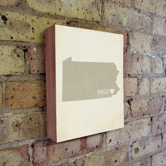 Philadelphia Art Print - Philly Art - Philadelphia Art - Philadelphia Pennsylvania - I Love Philly - Wood Block Art Print