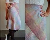 cyber monday SALE 50% OFF 70s Plaid Aline Skirt  /  Pastel And Gold Wool Skirt  /  High Waist Knee Length  /  1970s Preppy School Girl  /