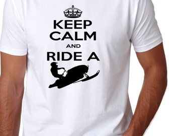 KEEP CALM and ride a Snowmobile Adult Shirt offroading snow trails back country winter t-shirt