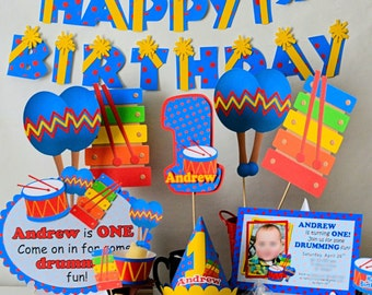 Music Birthday Party, Drum Birthday for 1st Birthday, or First Birthday - Invitation, Banner, Cake Topper, Centerpiece, Favor