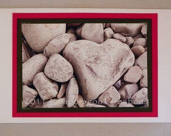 Photo Greeting Card, Heart Shaped Stone, Blank Insidefor Valentines Day, Anniversary, Loved One