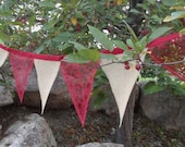Burgundy Red Wine Lace Burlap Christmas Wedding Decoration Bunting 15 Ft Garland Banner