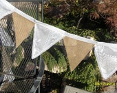 Victorian White Lace And Burlap Fabric Bunting 15 Ft Garland Banner Of Flags