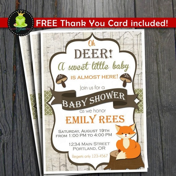 woodland baby shower invitation woodland party invite woodland