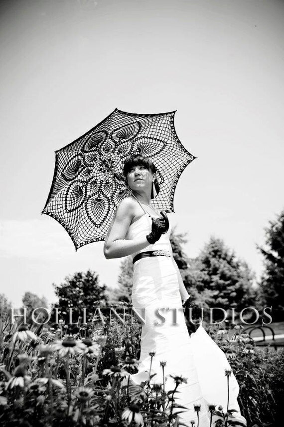 """46"""" Wedding Black Lace Crochet UMBRELLA PARASOL, Made in USA, Mothers Day Wedding, Party Favor- Made to Order"""