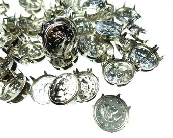 Round silver plated studs with prong woman's head lot 50 pcs