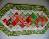 Modern Quilted Table Runner, Quilted Table Topper, Patchwork Runner, Spring, Summer, Bright Colors