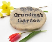 "Grandma's Garden ~ Grandma sign. Personalized Grandma gift, Garden decoration for flowers, herbs, perennials. 4"" x 6"" inscribed garden stone"