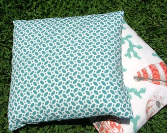 Designer  Accent Pillow Cover, mini leaf design, 18 inch, Kaufmann outdoor fabric, aqua on  white