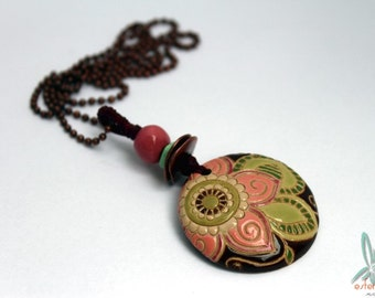 Paisley flower - stacked pendant with handmade ceramic beads