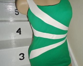 SALE Green Striped MOD Vintage 1960's Womens Bullet Bra Swimsuit S M