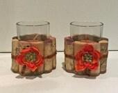 Upcycled Wine Cork Votive Candle holders (Orange Flowers)