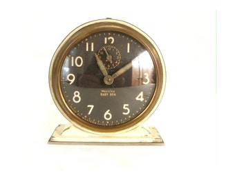 Vintage White Baby Ben WestClox Alarm Clock ... 1930s, Deco, Black Face, Small Clock, Timepiece, Modern Rustic