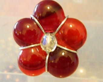 Flower Ring Fused Glass Red Flower Wire Wrap Ring