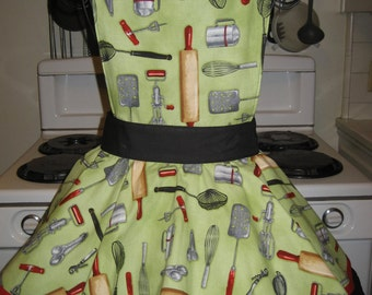 Ladies Fancy Hostess Baking and Cooking Vintage Style Retro Print  Apron