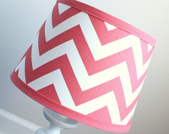 Small White and Coral Chevron lamp shade.  Other colors available.