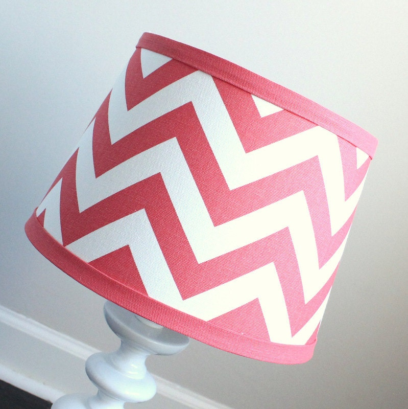 Small White and Coral Chevron lamp shade. Other colors
