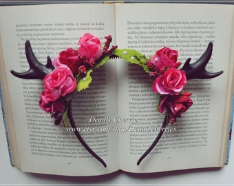 "Elegant  Enchanted Mori  Goth deer horns antler hair band ""Candy roses"""""