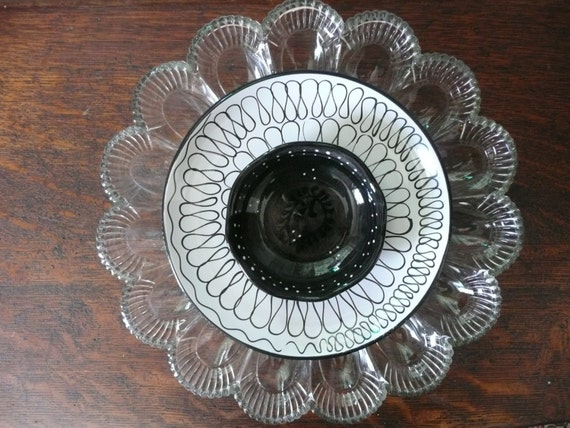 Wall Decor Glass Plates : Items similar to wall glass art egg platter modern plate