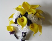 Calla Lilies, Roses, Hydrangeas, Calla Lily Bouquet, Wedding Bouquet, Yellow and Purple Bouquet, White Roses and Calla Lily Bouquet