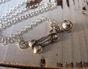 Silver Dog Bone Tennis Ball Necklace