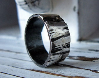 Mens Wedding Band Bark Textured Fine Oxidized Silver Ring 8-9mm Width Rustic Commitment Ring