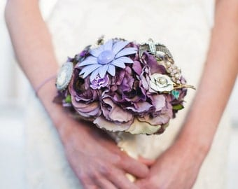 Brooch Bouquet - Custom Silk Flower and Jewelry Bouquet Small Romantic Bouquet