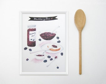 Jam Kitchen Art - Any ONE 8x11 Watercolor Food Art Print - Kitchen Poster / Kitchen Decor