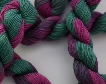 Hand Embroidery Thread - Brodery Cotton Needlecraft Yarn  - Hand Dip Dyed Variegated Shades of Purple and Bottle Green - Skein Ref. 261