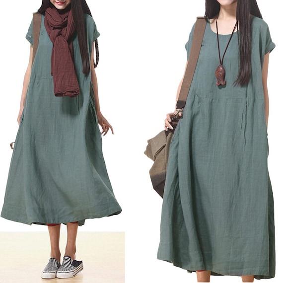 Loose fitting linen long shirt blouse for women short sleeved for Linen women s shirt