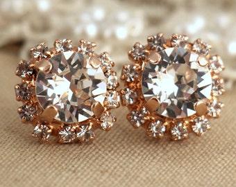 Rose Gold Earrings,Bridal Rose Gold Earrings,Swarovski Crystal Earrings,Bridesmaids Earrings,Bridesmaids Gifts,Pave Earrings,Rose Gold Studs