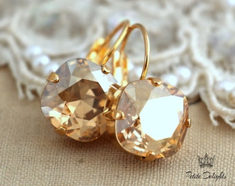 Champagne Earrings,Swarovski Drop earrings,Bridal Earrings,bridesmaids gifts,Champagne Dangle Earrings,Bridal Drop Earrings,Bridal Jewelry