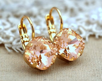 Peach Drop Earrings,Swarovski Crystal Peach Earrings,Dangle Peach Earrings,Gift for Her,Christmas Gift,Bridesmaids Earrings,Peach Droplets