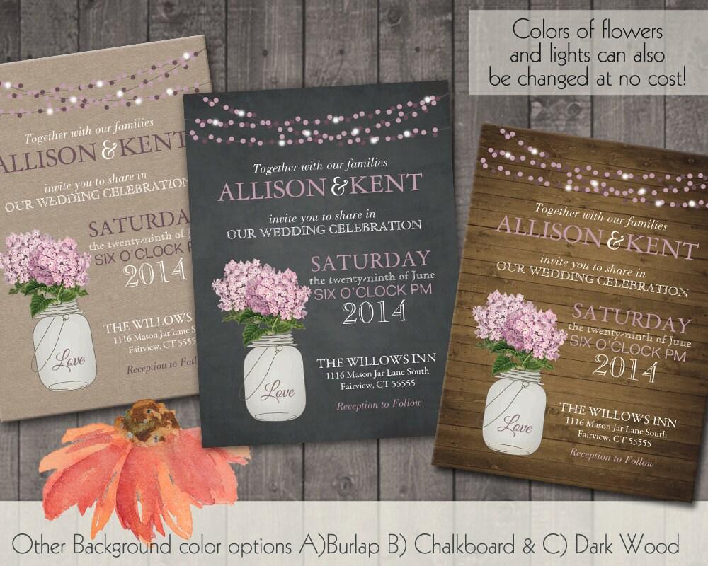 Cottage Mason Jar Wedding Invitation: Mason Jar Wedding Invitations With A Mason Jar By
