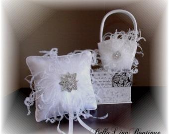 Wedding Flower Girl Basket and Ring Bearer Pillow SET - Ready to Ship