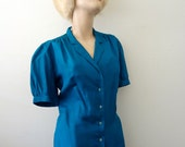 1980s Silk Blouse / blue-green button front short sleeve shirt / vintage fashion