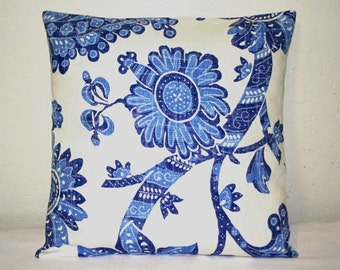Blue and White Batik Decorative Pillow 16 inch  Accent Pillows Throw Pillow Cushion Covers