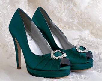 Wedding Shoes- Platform Dress Shoes- Bridal Peep Toe - 4 inch Heels- Over 250 Custom Dye Colors- Pink2Blue Shoes