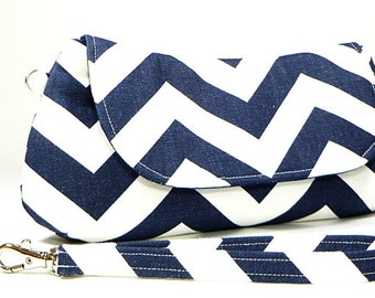 Clutch Purse - Navy White Chevron Clutch Bag, Bridesmaids Clutch, Gifts For Sister