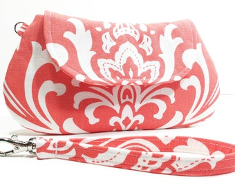 Coral Clutch Purse, Cosmetic Pouch, Makeup Bag - Coral White Damask
