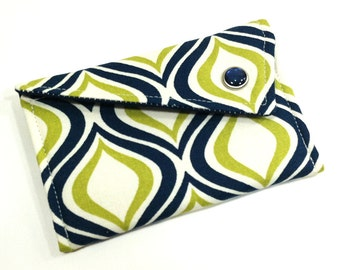 Business Card Holder - Navy Green Geometric Swivel Capri