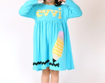 Back to School Dress Pencil Applique  - Toddler Dress or Girl's Dress- Choose Dress Color and Sleeve Length