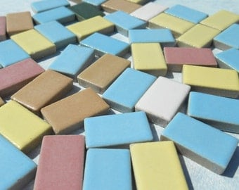 Rectangle Bars Mosaic Ceramic Tiles in Assorted Colors - 100 Tiles