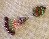 Brown and Green Stitch Markers & Holder, Knitting Gift, Snag Free